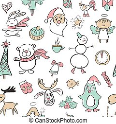 Seamless pattern with cute penguin,reindeer,bear, tree, angel, Santa, watch, candy ,Cup and rabbit. Hand Drawn vector illustration. Background with cartoon elements.