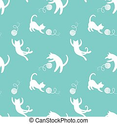 Seamless pattern with cute playing cats on yellow...