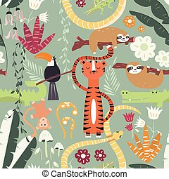Seamless pattern with cute rain forest animals, tiger,...