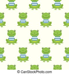 Seamless pattern with cute sailor frogs. Vector background for kids