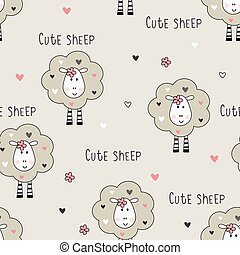 Seamless pattern with cute sheep and graphic elements