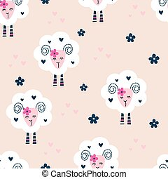 Seamless pattern with cute sheep and flowers