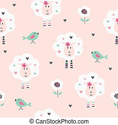 Seamless pattern with cute sheep, birds and flowers