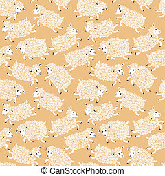Seamless pattern with cute sheep.