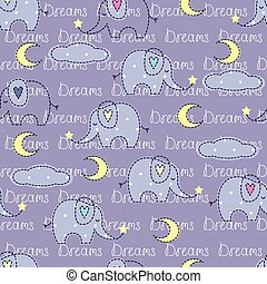 Seamless pattern with cute sleeping elephants