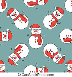 Seamless pattern with cute snowmen