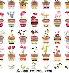 Seamless pattern with cute striped flower pots and growing flowers
