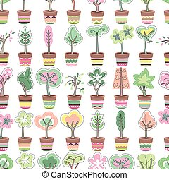 Seamless pattern with cute striped flower pots and growing ...