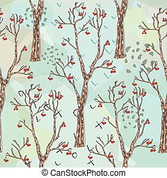 Seamless Pattern with Cute Trees. Hand Drawn Detailed Design. Scandinavian Style.