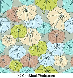 Seamless pattern with cute umbrellas. Vector illustration.