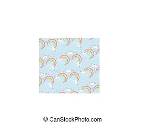 Seamless pattern with cute unicorns and rainbow