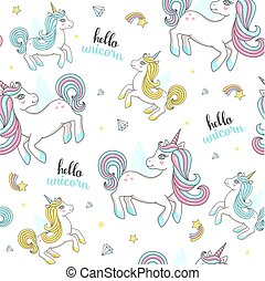 Seamless pattern with cute unicorns.