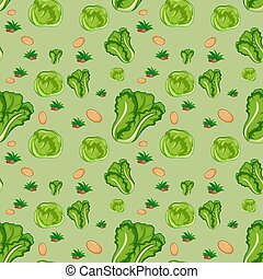 Seamless pattern with cute vegetable on green background
