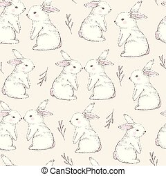 Seamless pattern with cute white rabbits. Hand Drawn vector