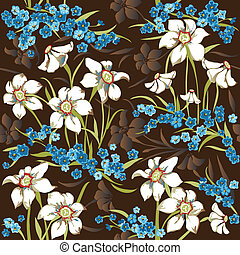 Seamless pattern with daffodils - Cute seamless pattern with...