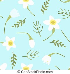 Seamless pattern with daffodils on a gentle blue background