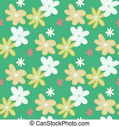 Seamless pattern with daisy flowers. Green background.