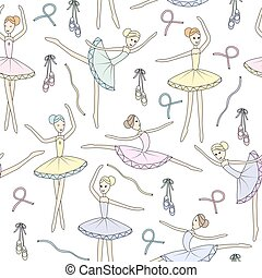 Seamless pattern with dancing ballerinas on a floral background. Vector