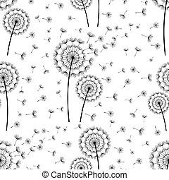 Beautiful white seamless pattern with black stylized dandelion and flying fluff. Floral light background with summer or spring flowers. Stylish trendy nature wallpaper. Vector illustration