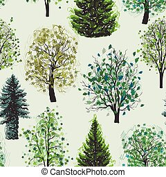 Seamless pattern with Deciduous and coniferous green trees set.