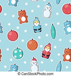 Seamless pattern with decorations for Christmas tree: Snowman, Santa, Kitty, Teddy Bear and other cute ornamets on light blue bckground. Vector illustration in cute cartoon style