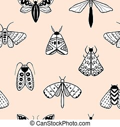 Seamless pattern with decorative butterflies and moths