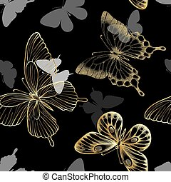 Seamless pattern with decorative butterflies golden outline. design greeting card and invitation of wedding, birthday, Valentine s Day, mother s day, spring, summer holidays, fabric, textile