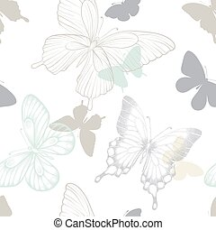 Seamless pattern with decorative butterflies in scandinavian style. design greeting card and invitation of the wedding, birthday, Valentine s Day, mother s day, spring and summer holidays, fabric, textile.