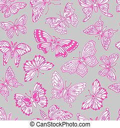 Seamless pattern with decorative butterflies.