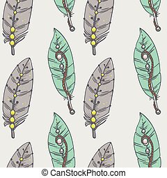 seamless pattern with decorative feathers