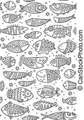 Seamless pattern with decorative fish