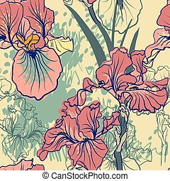 Seamless pattern with decorative iris flower in retro colors...