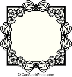 Seamless pattern with decorative of flower frame, isolated on white background. Vector