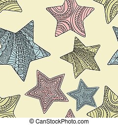 Seamless pattern with decorative stars. Vector background