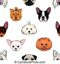 seamless pattern with decorative, thoroughbred dogs. head, muzzle on white. hand drawn realistic colorful background.