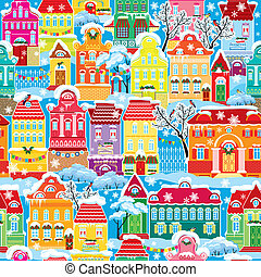 Seamless pattern with decorative colorful houses in winter...