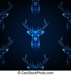 Seamless pattern with deer head with antlers on dark blue background.