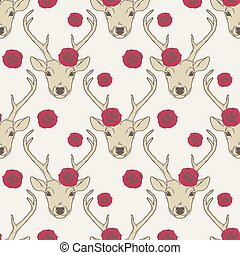 Seamless pattern with deer heads and roses