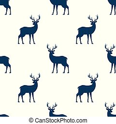 Seamless pattern with deer on white background.