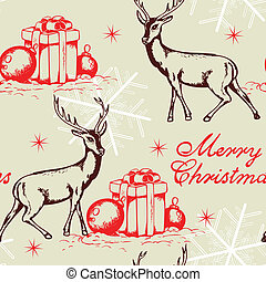 Seamless pattern with deer