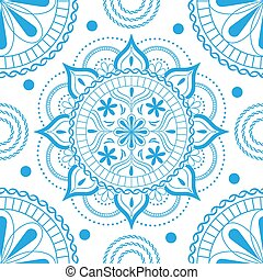 Seamless pattern with delicate flowers in pastel light blue colors on a white background