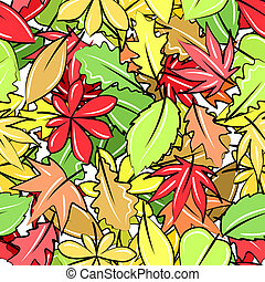Seamless pattern with different autumn leaves