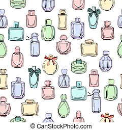 Seamless pattern with different bottles of woman perfume. ...