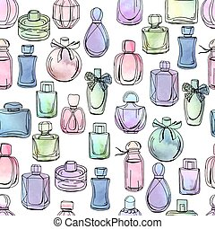 Seamless pattern with different bottles of woman perfume. Endless texture on white. Watercolor effect, vector illustration.