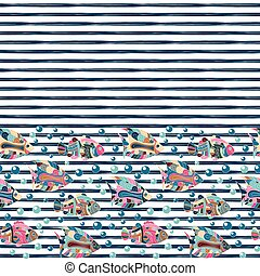 Seamless pattern with different fishes on striped background, vector illustration