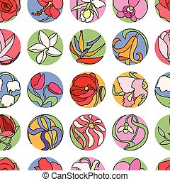 Seamless pattern with different flowers.