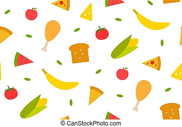 Seamless pattern with different food babana, corn, bread, meat, tomato, cheese. ets. Textile print design. Vector graphic