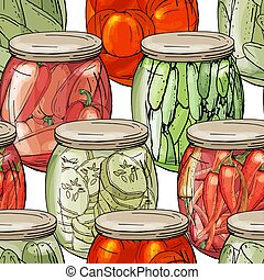 Seamless pattern with different glass jars with vegetables....