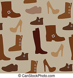 Seamless pattern with different kind of shoes. Boots, heels, shearling boots, riding boots and more.