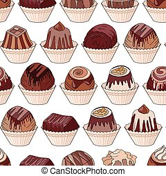 Seamless pattern with different kinds of chocolate candies